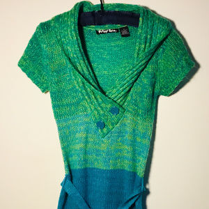 Planet Gold V-Neck, Belted Tunic Sweater Size M